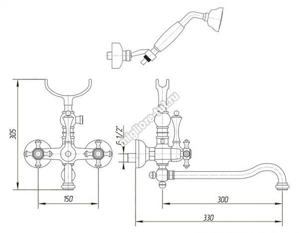 Смеситель Migliore Prestige ML.PRS-703 CR для ванны с поворотным изливом