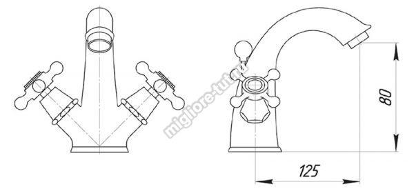 Смеситель для раковины Migliore Beatrice ML.BTC-134 цвет бронза