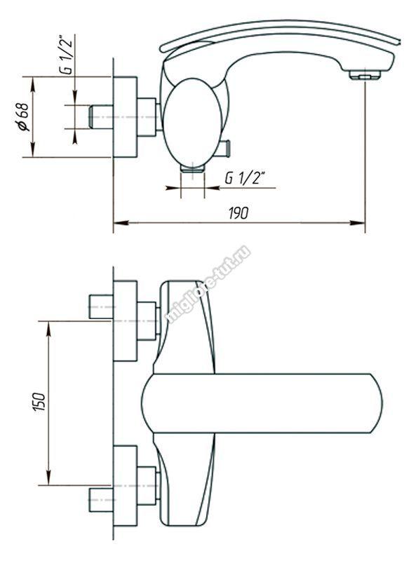 Смеситель  для ванны с душем Migliore Flo ML.FLO-7008 цвет хром