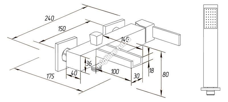 Смеситель для ванны с душем Migliore Kvant ML.KVT-2700 цвет хром