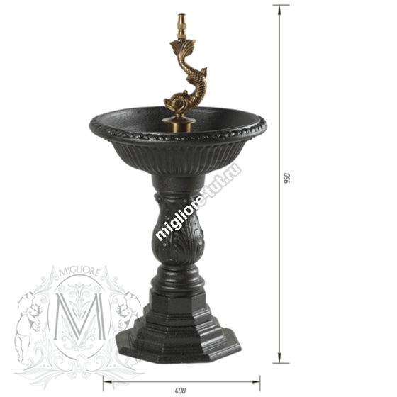 "Фонтан ""Золотая рыбка"" Migliore Artistica 85 см ML.ART-0148 цвет чугун"