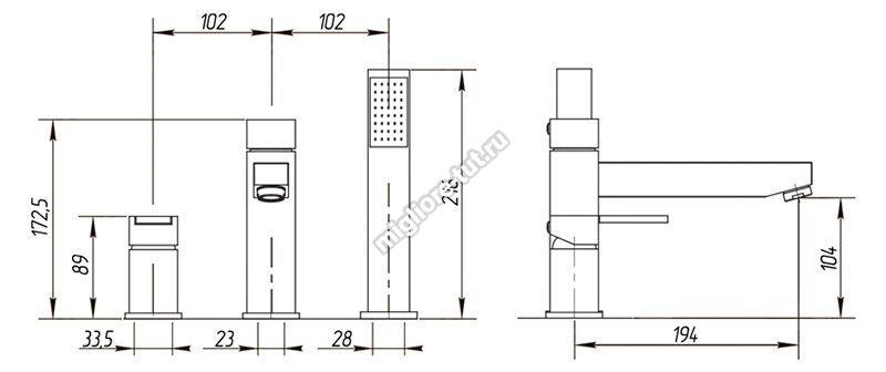 Смеситель на борт ванны Migliore Kvant ML.KVT-2755 цвет хром
