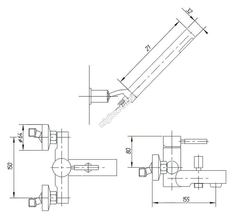 Смеситель для ванны с душем Migliore Fortis ML.FRT-5202 цвет хром