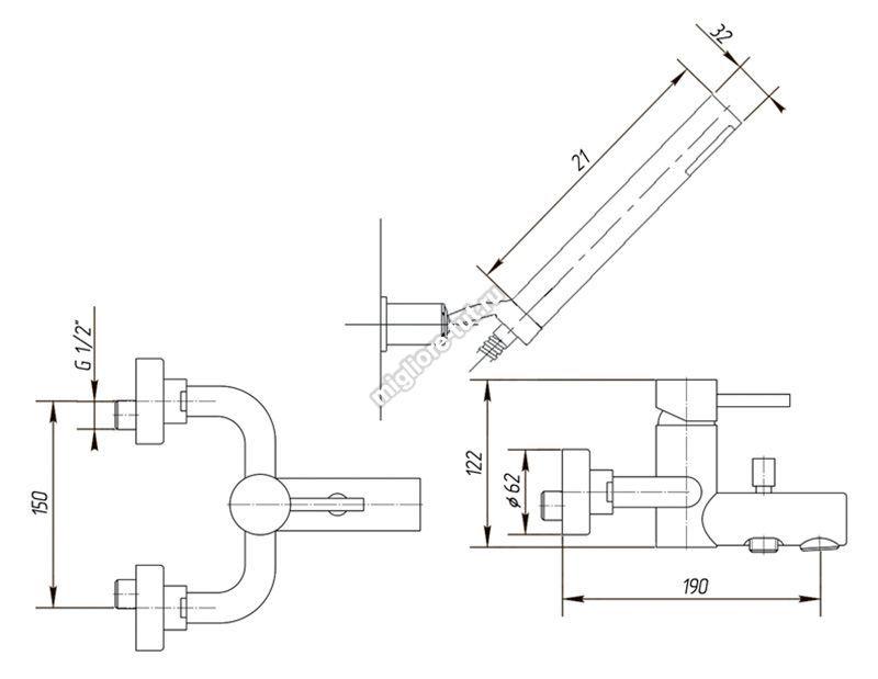 Смеситель для ванны с душем Migliore Fortis ML.FRT-5302 цвет хром
