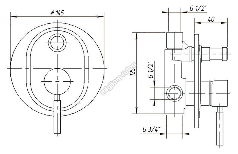 Смеситель скрытого монтажа термостатический с девиатором Migliore Fortis ML.FRT-5278 цвет хром