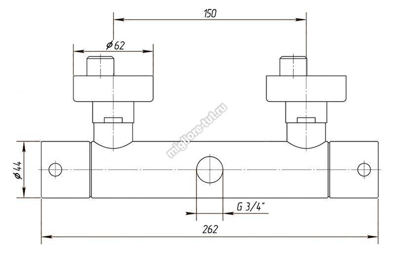 Cмеситель для душевой колонны термостатический Migliore Fortis ML.FRT-5476 цвет хром