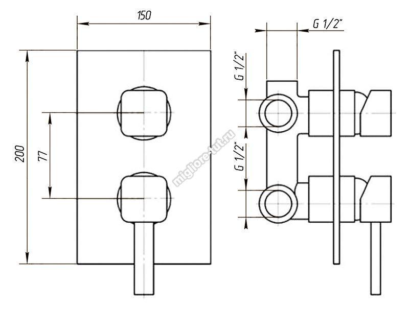 Смеситель 3 позиц. с девиатором Migliore Fortis ML.FRT-5231 цвет хром