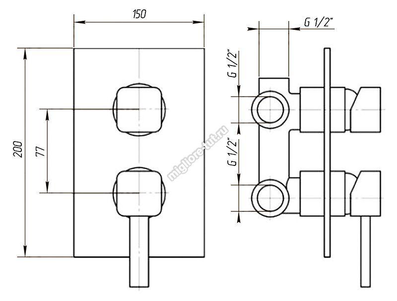 Смеситель 4 позиц. с девиатором Migliore Fortis ML.FRT-5232 цвет хром