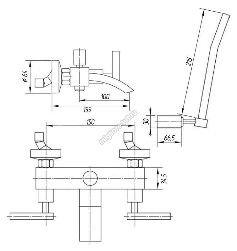 Смеситель для ванны с душем Migliore Syntesi ML.SNS-7902 цвет хром