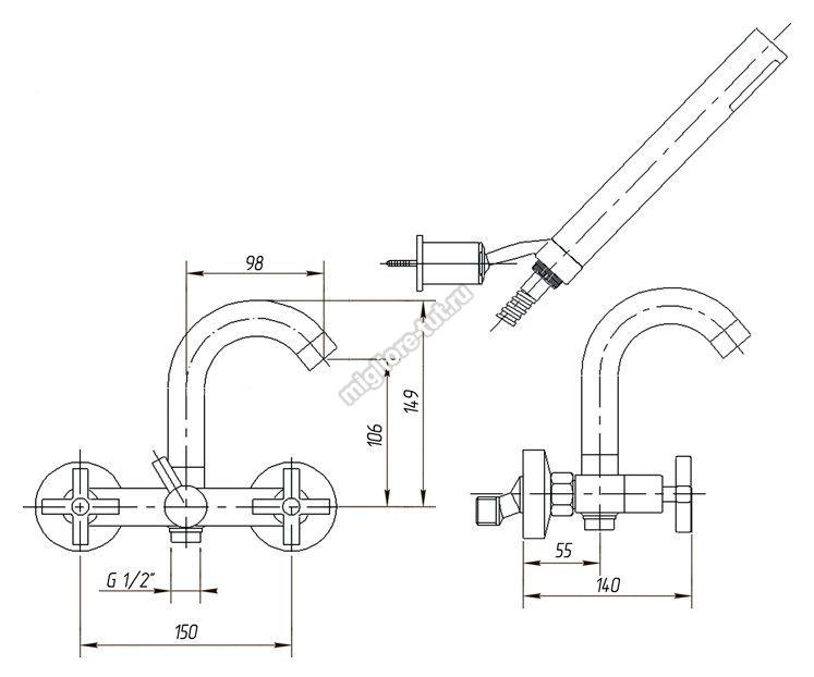 Смеситель для ванны с душем Migliore Naxos ML.NAX-7602 цвет хром