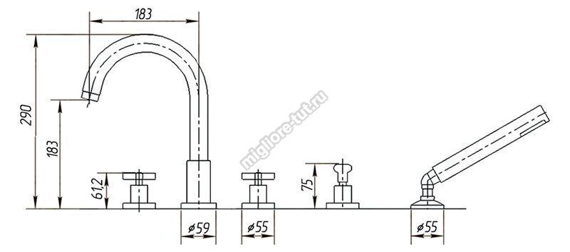 Смеситель на борт ванны Migliore Naxos ML.NAX-7680 цвет хром