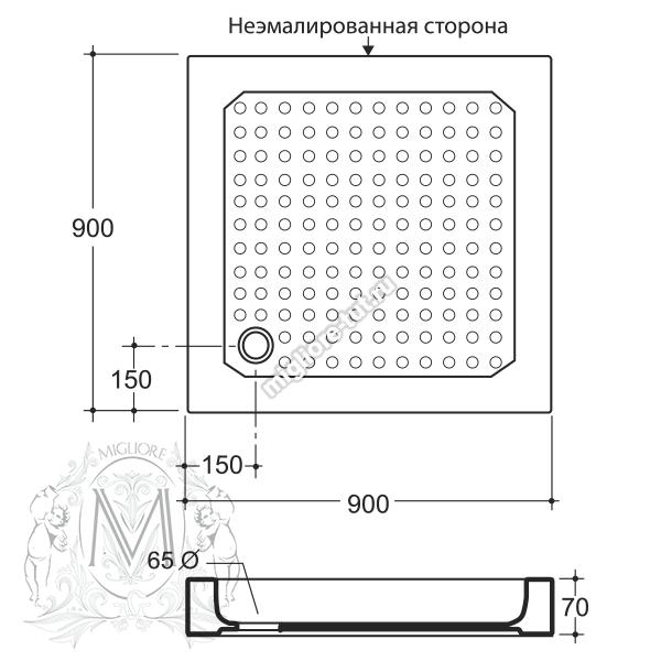 Квадратный поддон Migliore 90x90x7