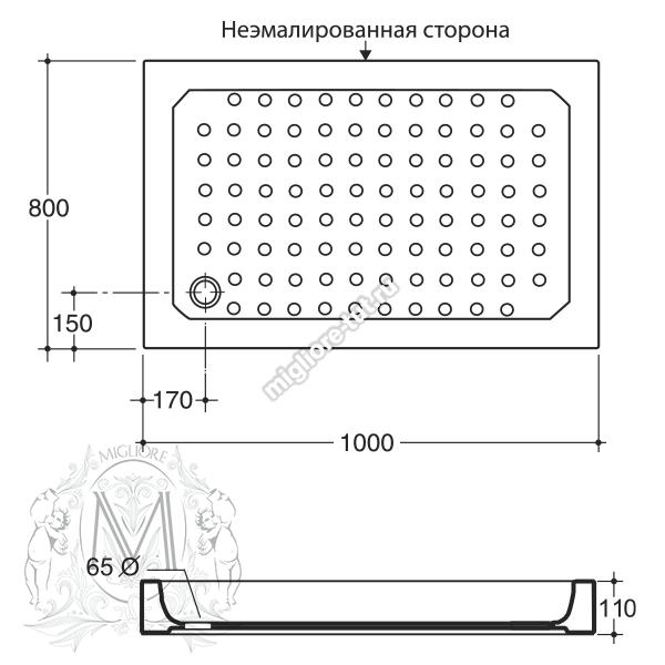 Прямоугольный поддон Migliore 100x80x11