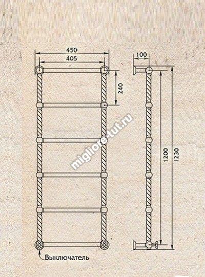 Полотенцесушитель водяной высокий Migliore Edera ML.EDR-HY.210 цвет бронза