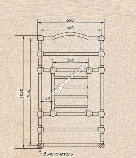 Полотенцесушитель водяной высокий Migliore Edward ML.EDW-HY.610 цвет золото