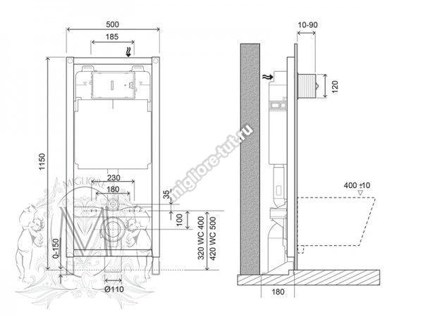 Система инсталляции для подвесного унитаза без кнопки (крепление к полу)