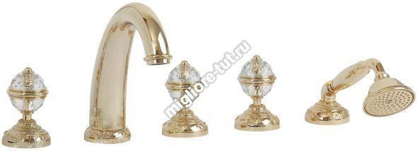 Смеситель на борт ванны Migliore Cristalia Swarovski ML.CRS-3780 цвет золото