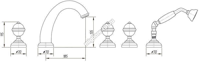 Смеситель на борт ванны Migliore Cristalia Swarovski ML.CRS-3780 цвет бронза