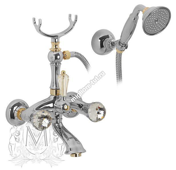Смеситель для ванны с душем Migliore Korona Swarovski ML.KRN-4703 цвет хром/золото