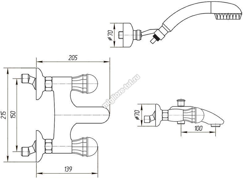 Смеситель для ванны с душем Migliore Korona Swarovski ML.KRN-4702 цвет бронза