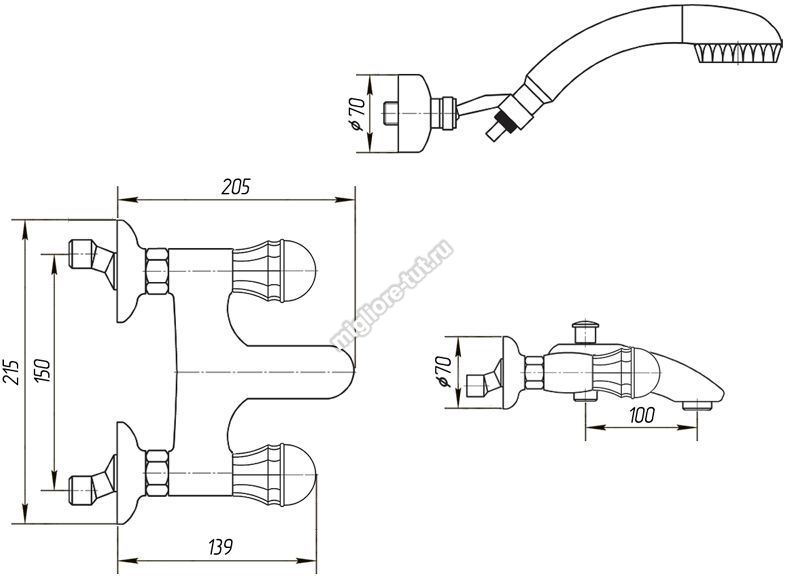 Смеситель для ванны с душем Migliore Korona Swarovski ML.KRN-4702 цвет золото