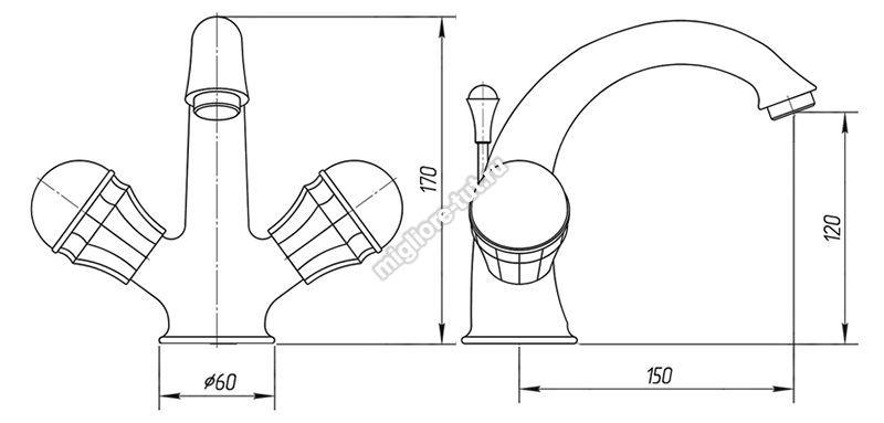 Смеситель для раковины Migliore Korona Swarovski ML.KRN-4734 цвет золото