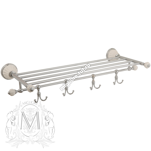 Полка держатель для полотенец с 4-мя крючками L60 Migliore Olivia ML.OLV-60.629 BI.CR