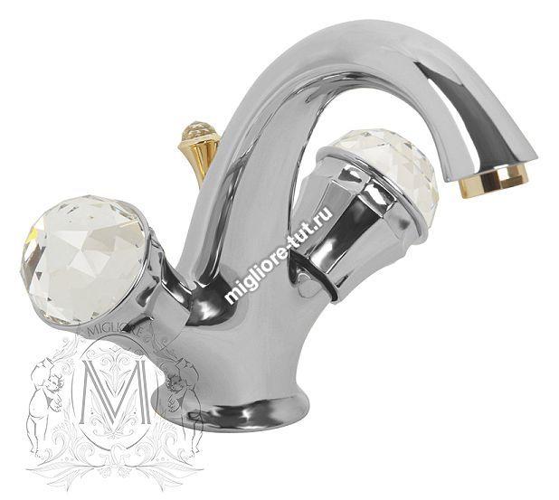 Смеситель для раковины Migliore Korona Swarovski ML.KRN-4734 цвет хром/золото