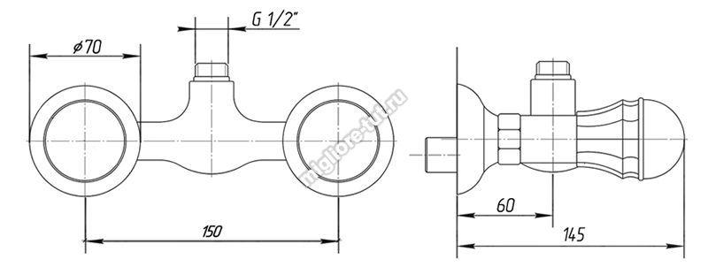 Смеситель для душа Migliore Korona Swarovski ML.KRN-4747 цвет бронза
