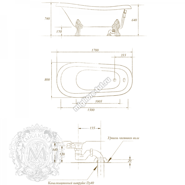 Ванна MIGLIORE BELLA ML.BLL-40.401 ножки бронза