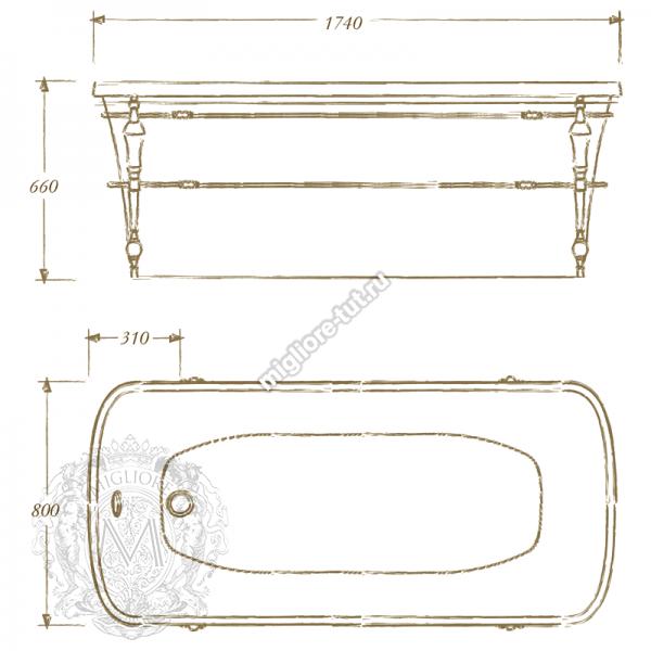 Ванна с консолью MIGLIORE Olivia console ML.OLV-40.102 фурнитура хром, панель белая глянцевая