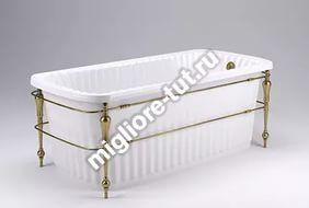 Ванна с консолью MIGLIORE Olivia console ML.OLV-40.102 Do - фурнитура золото, панель белая глянцевая