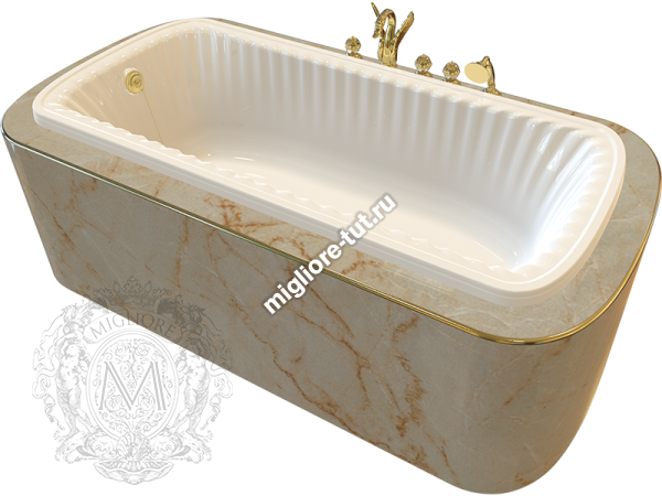 Ванна в подиум MIGLIORE Olivia podium ML.OLV-40.104 Br - фурнитура бронза