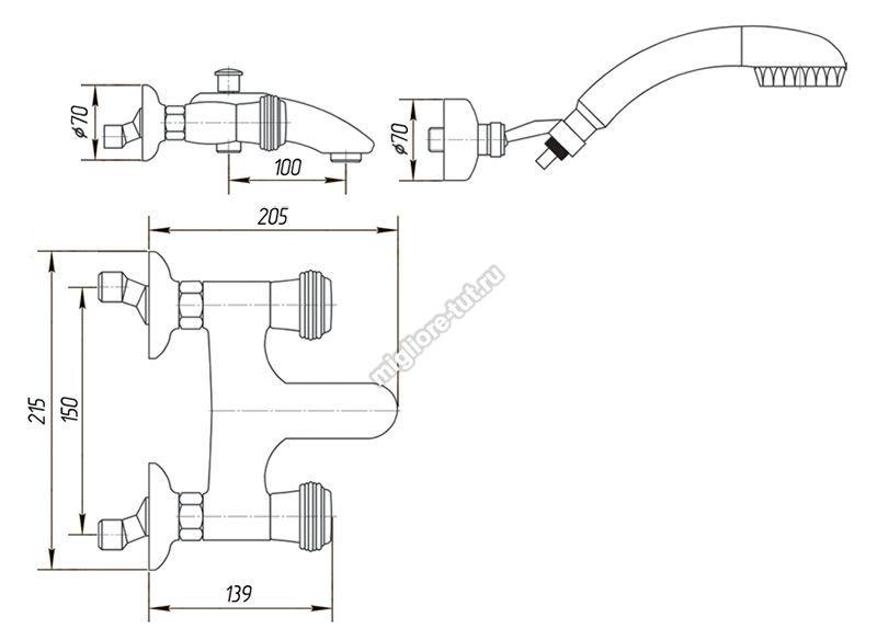 Смеситель для ванны с душем Migliore Axo Swarovski ML.AXO-602F цвет хром/золото