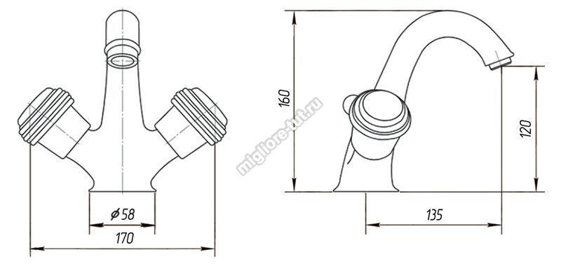 Смеситель для раковины Migliore Axo Swarovski ML.AXO-634F цвет хром/золото