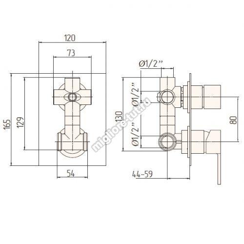 Смеситель скрытого монтажа 4х позиц Migliore Kvant ML.KVT-2732 цвет хром