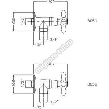 Кран запорный угловой Migliore Princeton Plus ML.PRP-8058 цвет бронза
