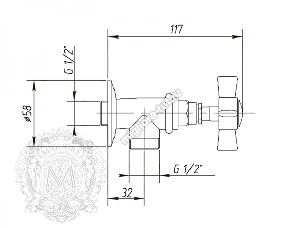 Кран запорный Migliore Princeton ML.PRN-858 цвет медь