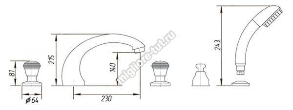 Смеситель на борт ванны Migliore Axo Swarovski ML.AXO-680F цвет хром/золото