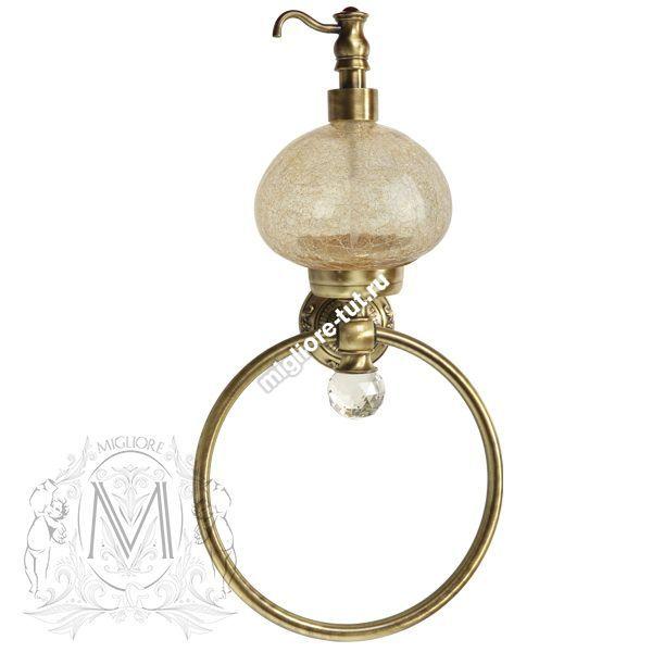 Дозатор жидкого мыла с кольцом настенный Migliore Cristalia ML.CRS-60.226 цвет золото , стекло, SWAROVSKI