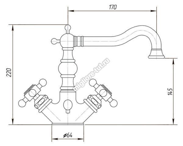 Смеситель для раковины Migliore Arcadia ML.ARC-8334 цвет бронза