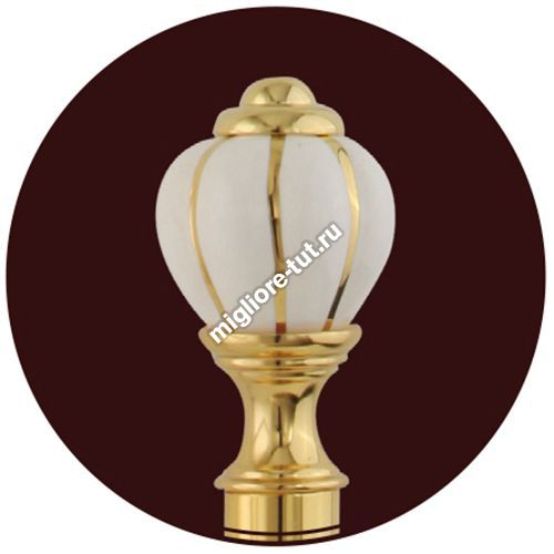 Полка с галереей L60 стекло Migliore Olivia ML.OLV-60.620 цвет белый/золото , декор золото