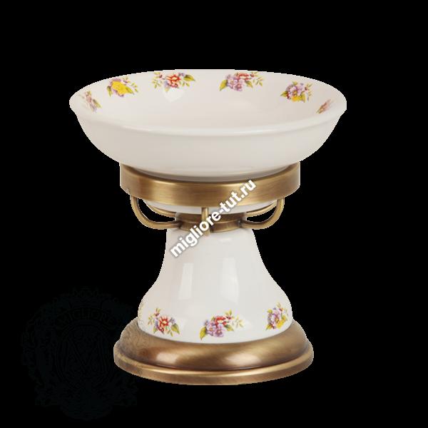 Мыльница настольная Migliore Provance ML.PRO-60.511 цвет хром , керамика с декором