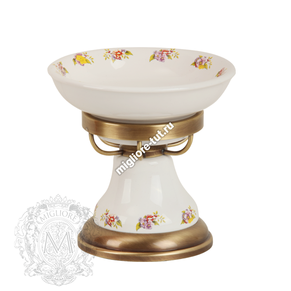 Мыльница настольная Migliore Provance ML.PRO-60.511 цвет бронза , керамика с декором