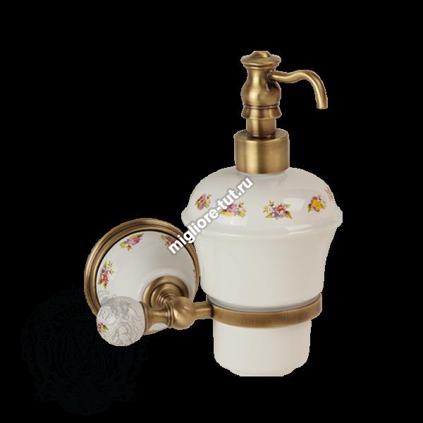 Дозатор жидкого мыла настенный Migliore Provance ML.PRO-60.507 цвет золото , керамика с декором