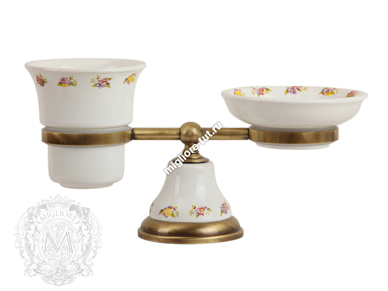 Стакан и мыльница настольная Migliore Provance ML.PRO-60.510 цвет хром , керамика с декором