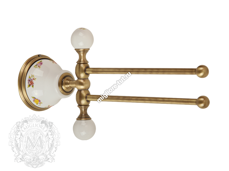 Полотенцедержатель двойной поворотный Migliore Provance ML.PRO-60.524 цвет хром , керамика с декором