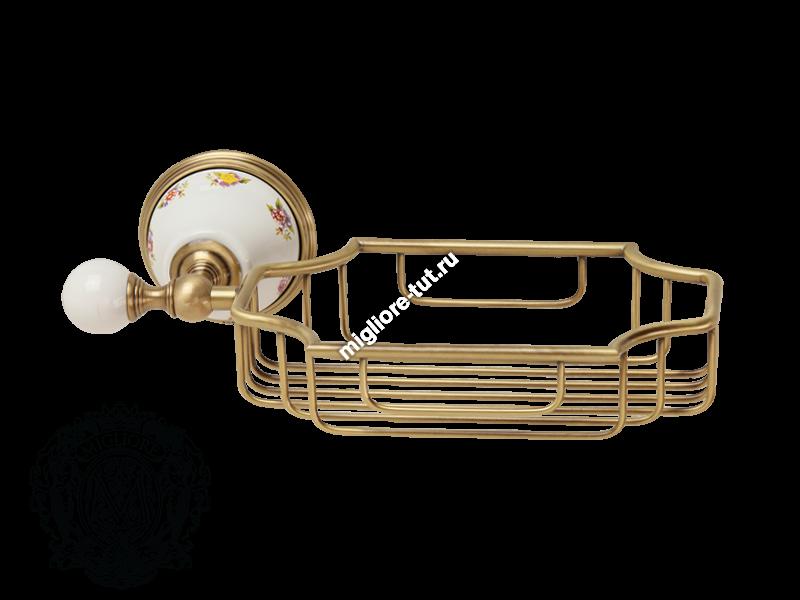 Решетка-корзинка настенная Migliore Provance ML.PRO-60.525 цвет хром , керамика с декором