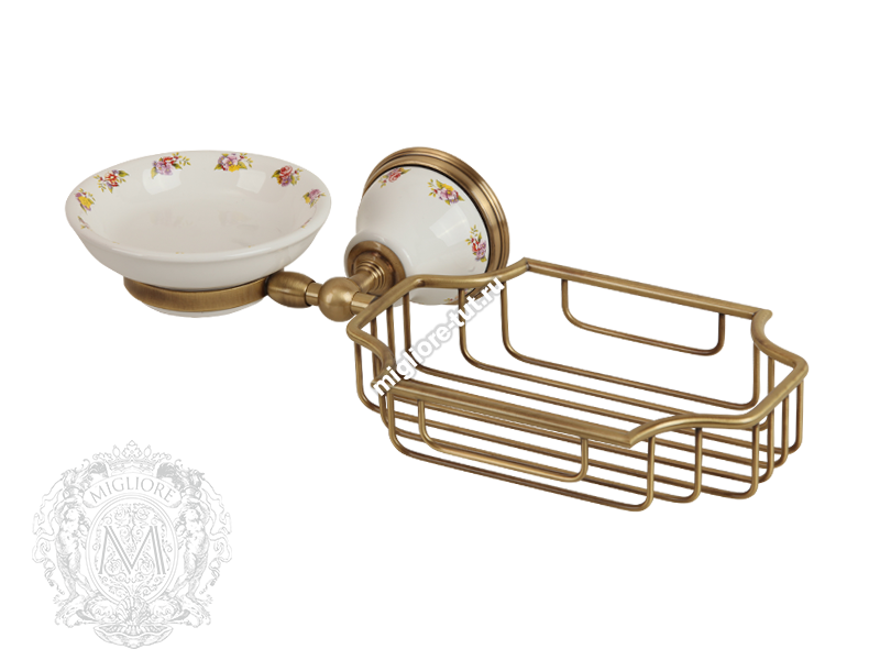 Мыльница с корзинкой настенная Migliore Provance ML.PRO-60.526 цвет бронза , керамика с декором