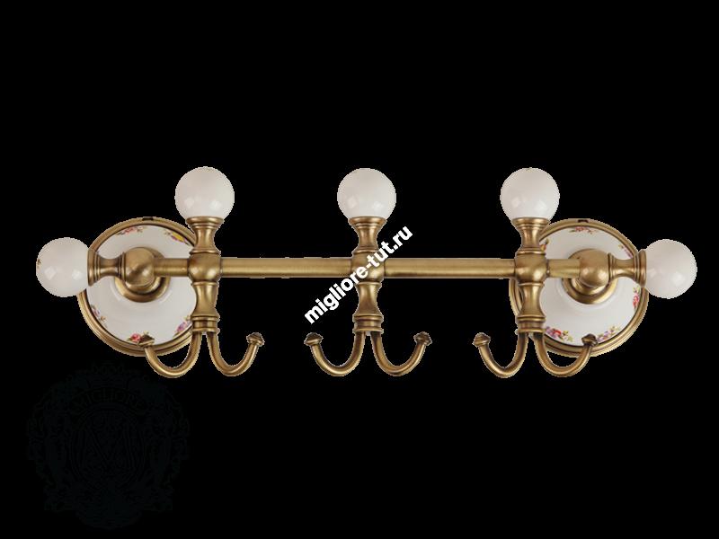 Планка с тремя крючками Migliore Provance ML.PRO-60.539 цвет бронза , керамика с декором